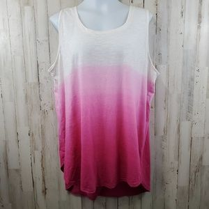 Lane Bryant Womens Top 22/24 Pink Sleeveless Ombre